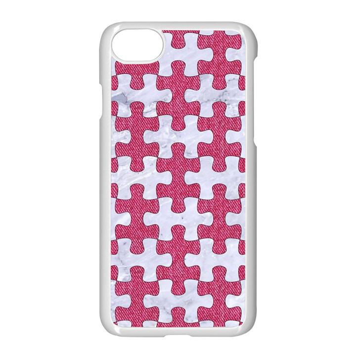 PUZZLE1 WHITE MARBLE & PINK DENIM Apple iPhone 8 Seamless Case (White)