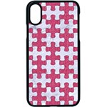PUZZLE1 WHITE MARBLE & PINK DENIM Apple iPhone X Seamless Case (Black) Front