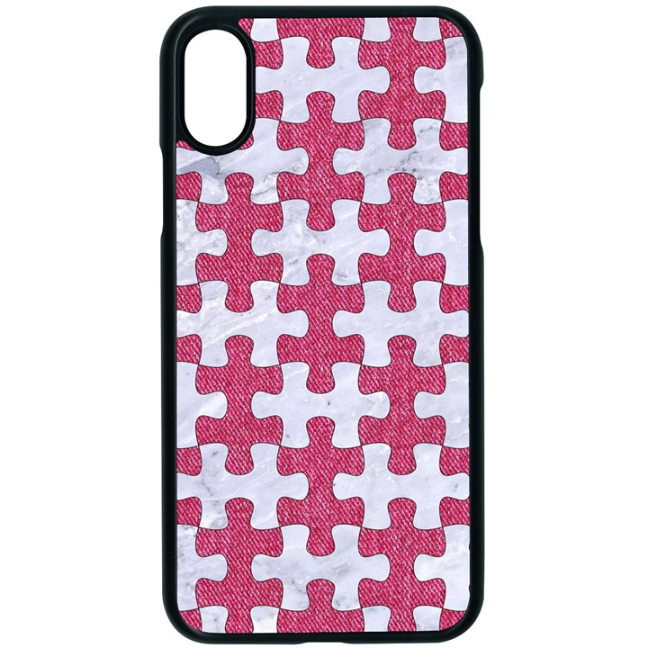 PUZZLE1 WHITE MARBLE & PINK DENIM Apple iPhone X Seamless Case (Black)