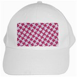 HOUNDSTOOTH2 WHITE MARBLE & PINK DENIM White Cap Front