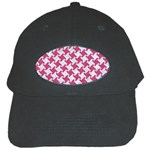 HOUNDSTOOTH2 WHITE MARBLE & PINK DENIM Black Cap Front