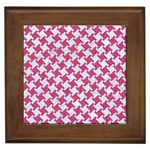 HOUNDSTOOTH2 WHITE MARBLE & PINK DENIM Framed Tiles Front