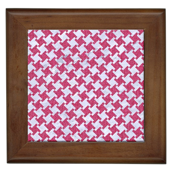 HOUNDSTOOTH2 WHITE MARBLE & PINK DENIM Framed Tiles