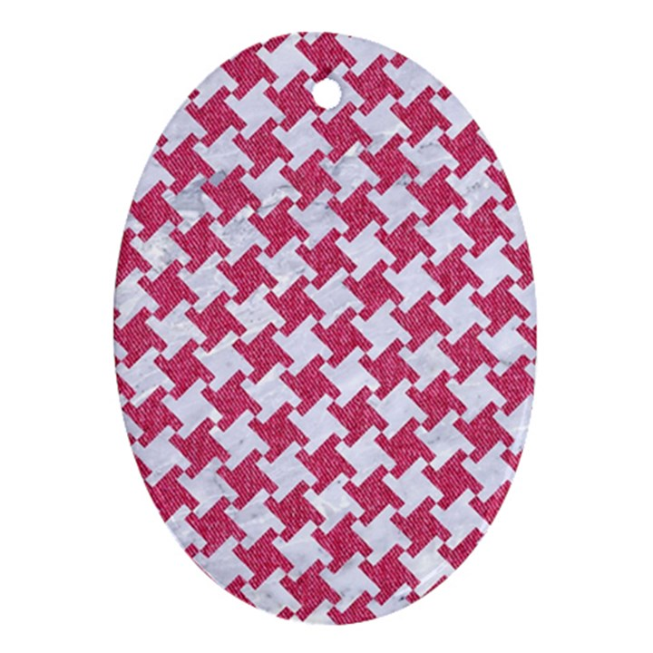 HOUNDSTOOTH2 WHITE MARBLE & PINK DENIM Ornament (Oval)