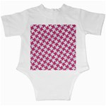 HOUNDSTOOTH2 WHITE MARBLE & PINK DENIM Infant Creepers Back