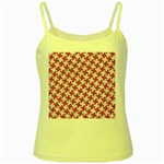 HOUNDSTOOTH2 WHITE MARBLE & PINK DENIM Yellow Spaghetti Tank Front