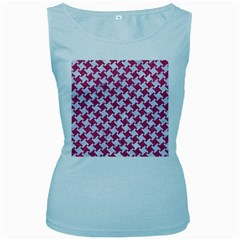 Houndstooth2 White Marble & Pink Denim Women s Baby Blue Tank Top