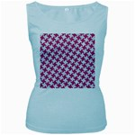 HOUNDSTOOTH2 WHITE MARBLE & PINK DENIM Women s Baby Blue Tank Top Front