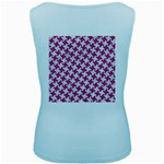 HOUNDSTOOTH2 WHITE MARBLE & PINK DENIM Women s Baby Blue Tank Top Back