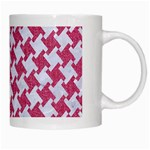 HOUNDSTOOTH2 WHITE MARBLE & PINK DENIM White Mugs Right