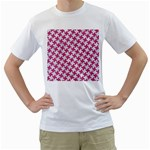 HOUNDSTOOTH2 WHITE MARBLE & PINK DENIM Men s T-Shirt (White) (Two Sided) Front