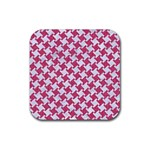 HOUNDSTOOTH2 WHITE MARBLE & PINK DENIM Rubber Coaster (Square)  Front