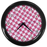HOUNDSTOOTH2 WHITE MARBLE & PINK DENIM Wall Clocks (Black) Front