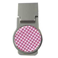 Houndstooth2 White Marble & Pink Denim Money Clips (round)