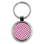 HOUNDSTOOTH2 WHITE MARBLE & PINK DENIM Key Chains (Round)  Front
