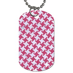 Houndstooth2 White Marble & Pink Denim Dog Tag (two Sides)
