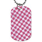 HOUNDSTOOTH2 WHITE MARBLE & PINK DENIM Dog Tag (Two Sides) Front