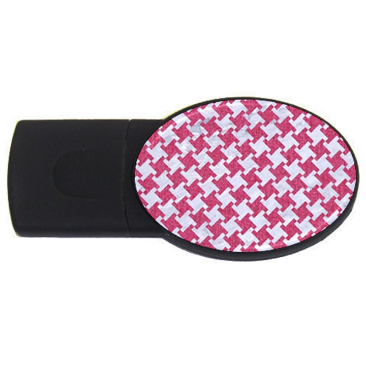 HOUNDSTOOTH2 WHITE MARBLE & PINK DENIM USB Flash Drive Oval (2 GB)