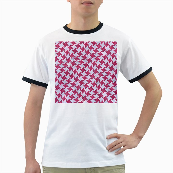 HOUNDSTOOTH2 WHITE MARBLE & PINK DENIM Ringer T-Shirts
