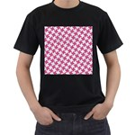 HOUNDSTOOTH2 WHITE MARBLE & PINK DENIM Men s T-Shirt (Black) (Two Sided) Front
