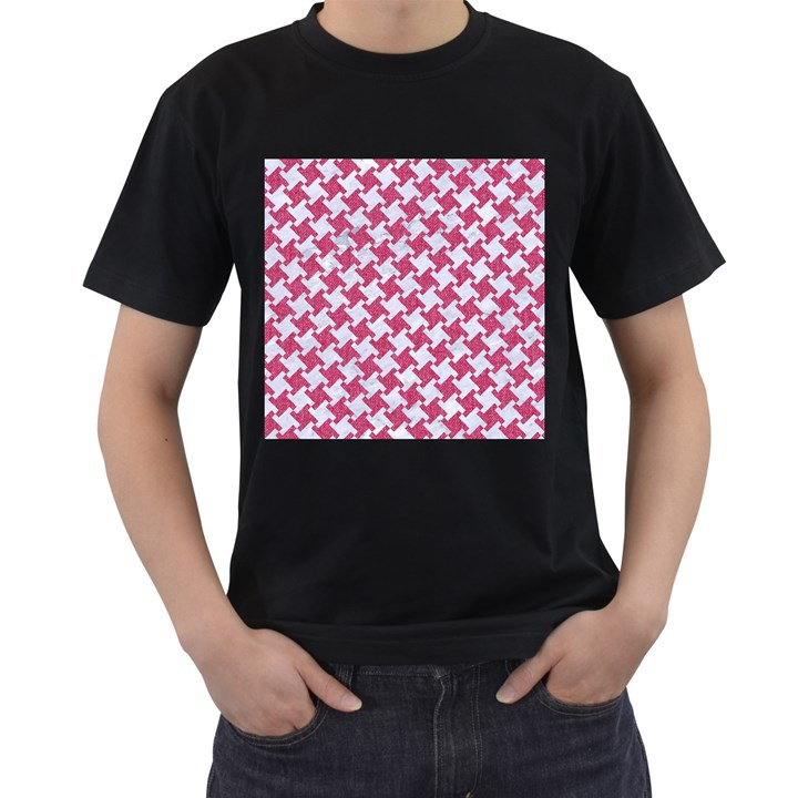 HOUNDSTOOTH2 WHITE MARBLE & PINK DENIM Men s T-Shirt (Black) (Two Sided)