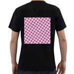 HOUNDSTOOTH2 WHITE MARBLE & PINK DENIM Men s T-Shirt (Black) (Two Sided) Back