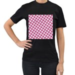 HOUNDSTOOTH2 WHITE MARBLE & PINK DENIM Women s T-Shirt (Black) (Two Sided) Front