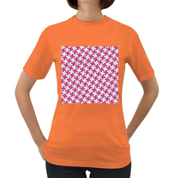 HOUNDSTOOTH2 WHITE MARBLE & PINK DENIM Women s Dark T-Shirt