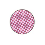 HOUNDSTOOTH2 WHITE MARBLE & PINK DENIM Hat Clip Ball Marker Front