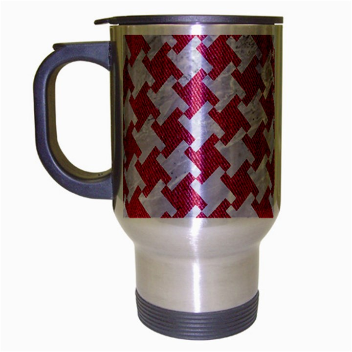 HOUNDSTOOTH2 WHITE MARBLE & PINK DENIM Travel Mug (Silver Gray)
