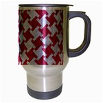 HOUNDSTOOTH2 WHITE MARBLE & PINK DENIM Travel Mug (Silver Gray) Right