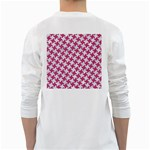 HOUNDSTOOTH2 WHITE MARBLE & PINK DENIM White Long Sleeve T-Shirts Back