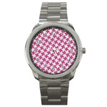 HOUNDSTOOTH2 WHITE MARBLE & PINK DENIM Sport Metal Watch Front