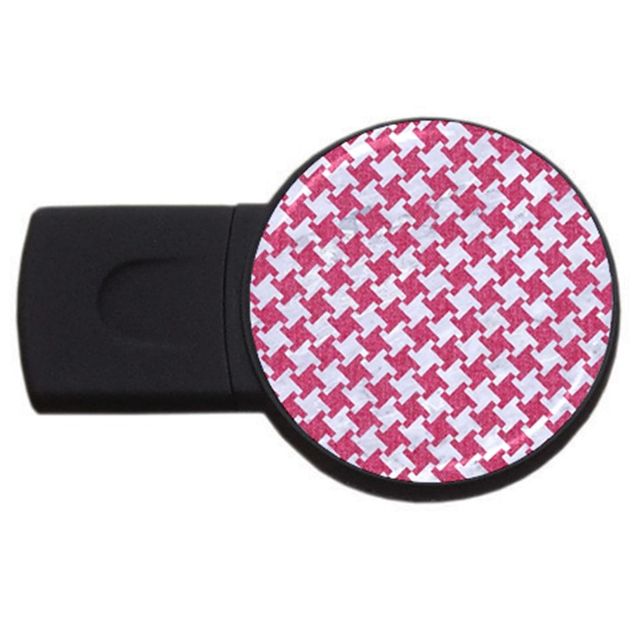 HOUNDSTOOTH2 WHITE MARBLE & PINK DENIM USB Flash Drive Round (4 GB)
