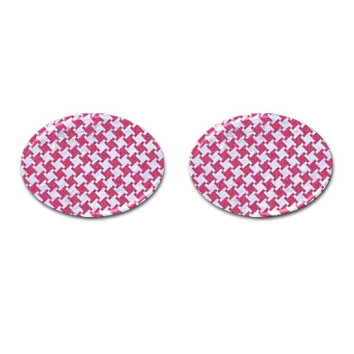 HOUNDSTOOTH2 WHITE MARBLE & PINK DENIM Cufflinks (Oval)