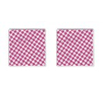 HOUNDSTOOTH2 WHITE MARBLE & PINK DENIM Cufflinks (Square) Front