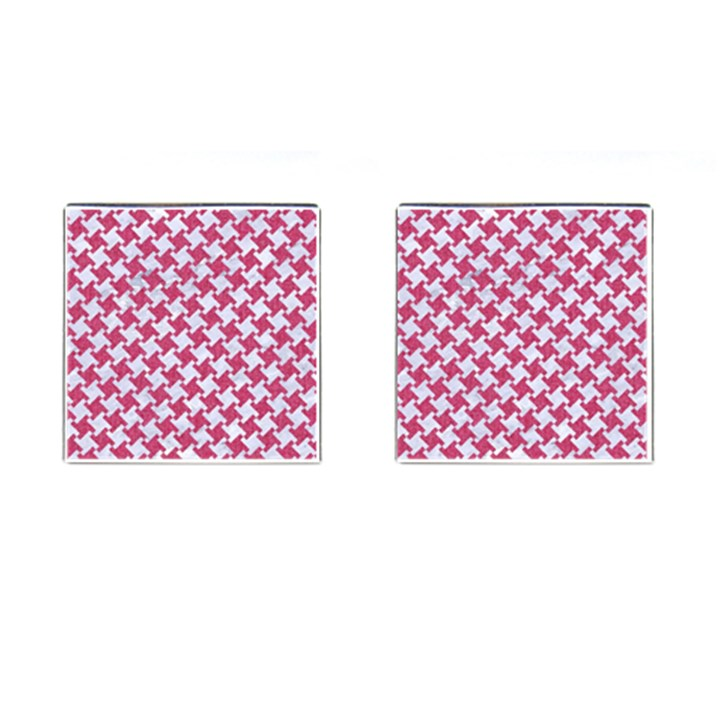 HOUNDSTOOTH2 WHITE MARBLE & PINK DENIM Cufflinks (Square)