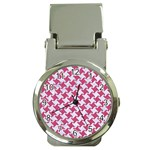 HOUNDSTOOTH2 WHITE MARBLE & PINK DENIM Money Clip Watches Front