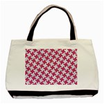 HOUNDSTOOTH2 WHITE MARBLE & PINK DENIM Basic Tote Bag Front