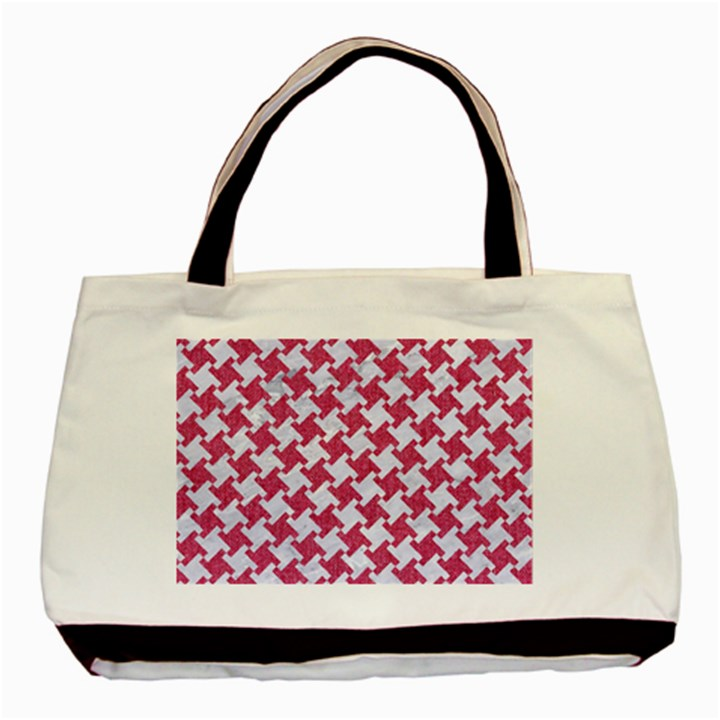 HOUNDSTOOTH2 WHITE MARBLE & PINK DENIM Basic Tote Bag