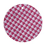 HOUNDSTOOTH2 WHITE MARBLE & PINK DENIM Round Ornament (Two Sides) Front