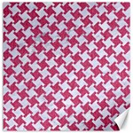HOUNDSTOOTH2 WHITE MARBLE & PINK DENIM Canvas 16  x 16   16 x16 Canvas - 1