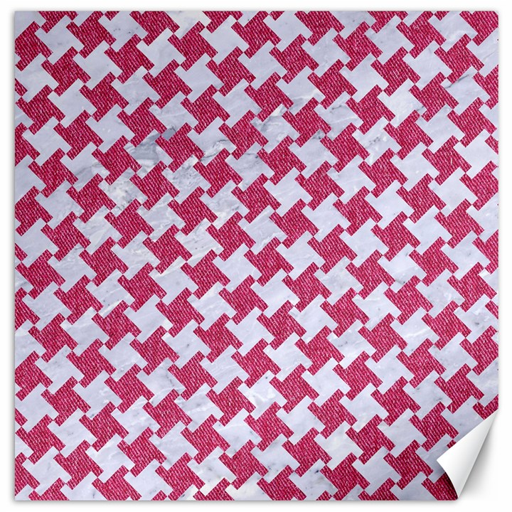 HOUNDSTOOTH2 WHITE MARBLE & PINK DENIM Canvas 16  x 16