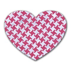 Houndstooth2 White Marble & Pink Denim Heart Mousepads
