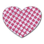 HOUNDSTOOTH2 WHITE MARBLE & PINK DENIM Heart Mousepads Front