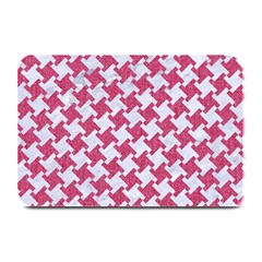 Houndstooth2 White Marble & Pink Denim Plate Mats