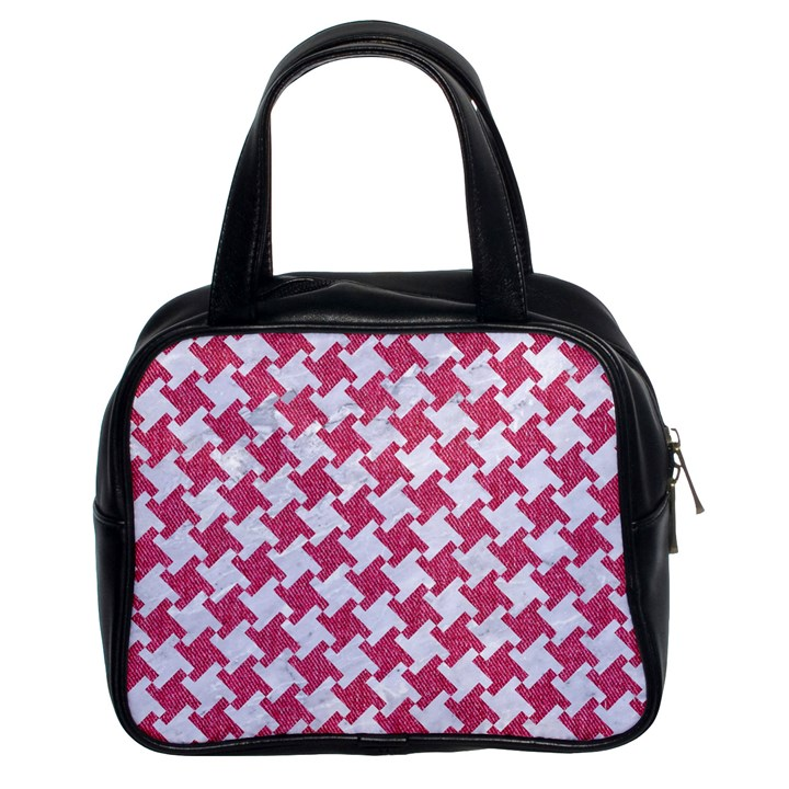HOUNDSTOOTH2 WHITE MARBLE & PINK DENIM Classic Handbags (2 Sides)