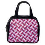 HOUNDSTOOTH2 WHITE MARBLE & PINK DENIM Classic Handbags (2 Sides) Back