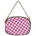 HOUNDSTOOTH2 WHITE MARBLE & PINK DENIM Chain Purses (Two Sides)  Front