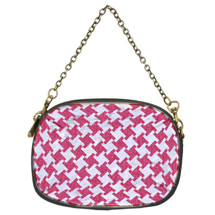 HOUNDSTOOTH2 WHITE MARBLE & PINK DENIM Chain Purses (Two Sides)